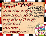 Pirate style alphabet, numbers, punctuation/elements, and bunting