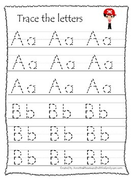 Pirate themed A-Z Tracing preschool printable worksheets