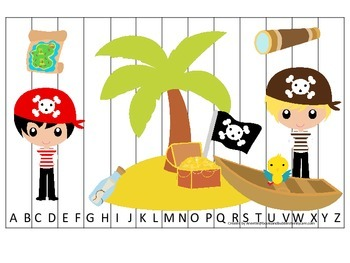 Pirate themed Alphabet Sequence Puzzle preschool educational game.  Printable.