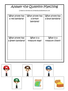 Pirate themed Answer the Question preschool educational game.  Printable.