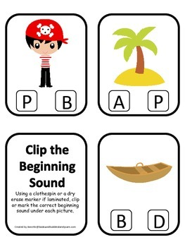 Pirate themed Beginning Sounds Clip it Cards preschool educational game activity