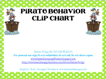 Pirate-themed Behavior Clip Chart for Speech Therapy