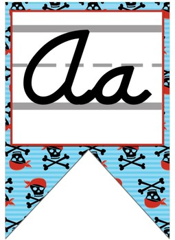 Pirate themed Cursive Alphabet banner