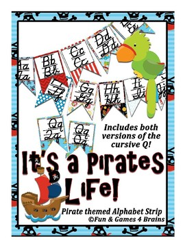 Pirate themed D'Nealian print and cursive Alphabet banner