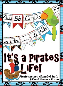 Pirate themed D'Nealian print Alphabet banner