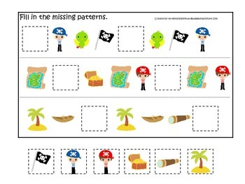 Pirate themed Fill in the Missing Pattern preschool educational math game activi