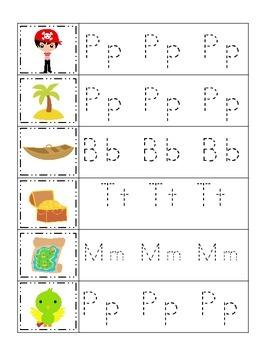 Pirate themed Letter Tracing preschool printable worksheet