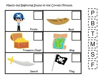 Pirate themed Match the Beginning Sound preschool educational game.  Printable.