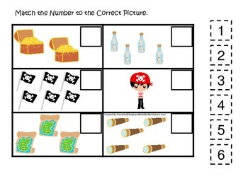 Pirate themed Match the Number preschool math educational game.  Printable.
