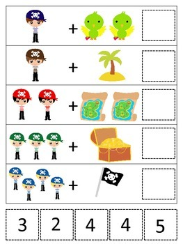 Pirate themed Math Addition preschool educational game.  Printable game.