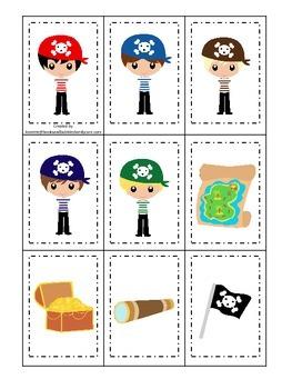 Pirate themed Memory Matching preschool educational card game.  Printable.