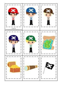 Pirate themed Memory Matching preschool educational card g