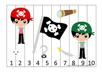 Pirate themed Number Sequence Puzzle 1-10 preschool educational activity.