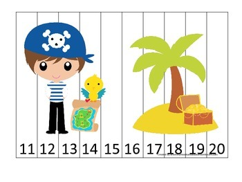 Pirate themed Number Sequence Puzzle 11-20 preschool educational activity.