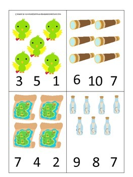 Pirate themed Numbers Clip it Cards preschool educational game activity.