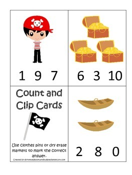 Pirate themed Numbers Clip it Cards preschool educational