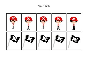 Pirate themed Pattern Cards #1 preschool educational game.  Daycare curriculum.