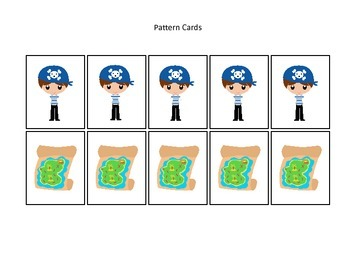 Pirate themed Pattern Cards #2 preschool educational game.  Daycare curriculum.