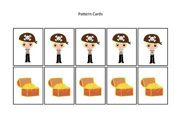 Pirate themed Pattern Cards #3 preschool educational game.  Daycare curriculum.