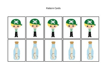 Pirate themed Pattern Cards #4 preschool educational game.  Daycare curriculum.
