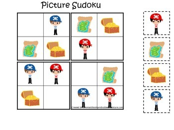 Pirate themed Picture Sudokku preschool educational activity game.  Daycare game