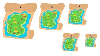 Pirate themed Size Sequencing preschool educational game.  Preschool Printable.