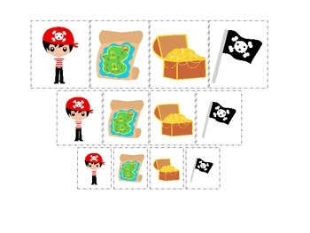 Pirate themed Size Sorting preschool educational game.  Printable game.