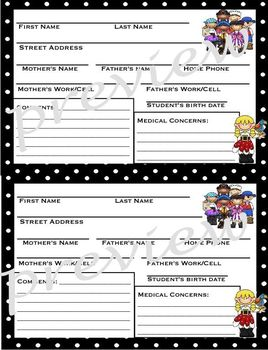 Pirate themed Student Information Card