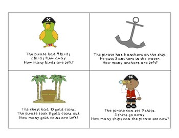 Pirate themed Subtraction Stories with sums to 10.