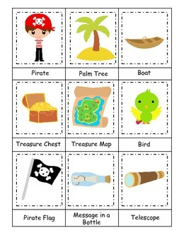 Pirate themed Three Part Matching preschool educational game.  Printable game.