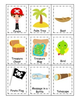 Pirate themed Three Part Matching preschool educational ga