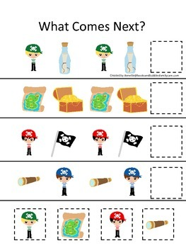 Pirate themed What Comes Next preschool educational game.  Printable.
