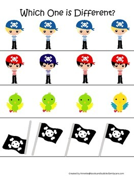 Pirate themed Which One is Differnet preschool educational activity.  Daycare.