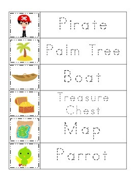 Pirate themed Word Tracing preschool printable worksheets.  Daycare curriculum