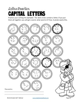 Alphabet Cursive Handwriting Worksheets for 5 - 11 years: Pirates
