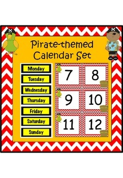 Pirate-themed calendar set (with editable boxes)