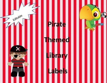 Pirate themed library label editable
