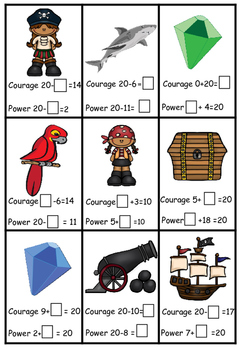 Pirate themed number bonds of 20 top trump style game.