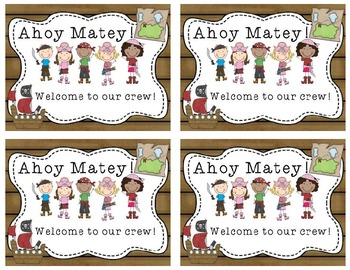 Pirate- themed welcome back postcards