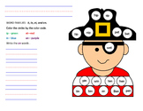 Pirate themed word family worksheet for ip, in, et, and en