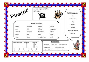 Pirate topic word mat