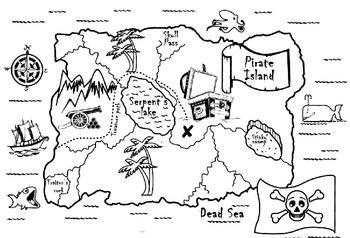Pirate treasure map to colour by gold star teachers pay for Printable treasure map coloring page