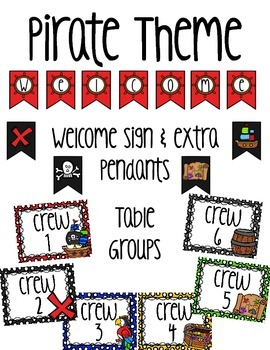 Pirate welcome sign and table groups