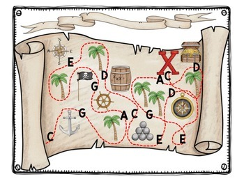 Pirate Treasure Map Guided Composition for Xylophone, Recorder, Boomwhackers