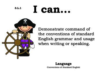 Piratekids 3rd grade English Common core standards posters
