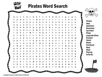 Pirates Activity | Pirates Word Search | Pirate Theme Activity