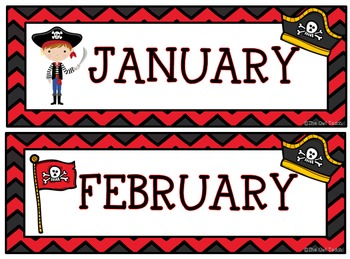 Pirates Classroom Theme - Calendar Set