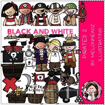 Pirates 2 clip art - BLACK AND WHITE- by Melonheadz