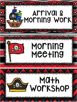 Pirates Classroom Theme - Schedule Cards