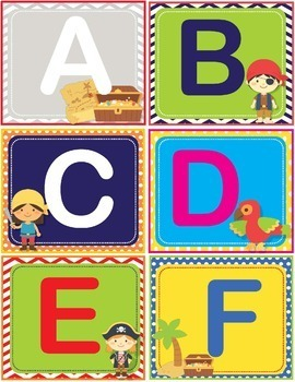 Pirate Theme ABC 123 Number and Letter Cards Shelf Labels